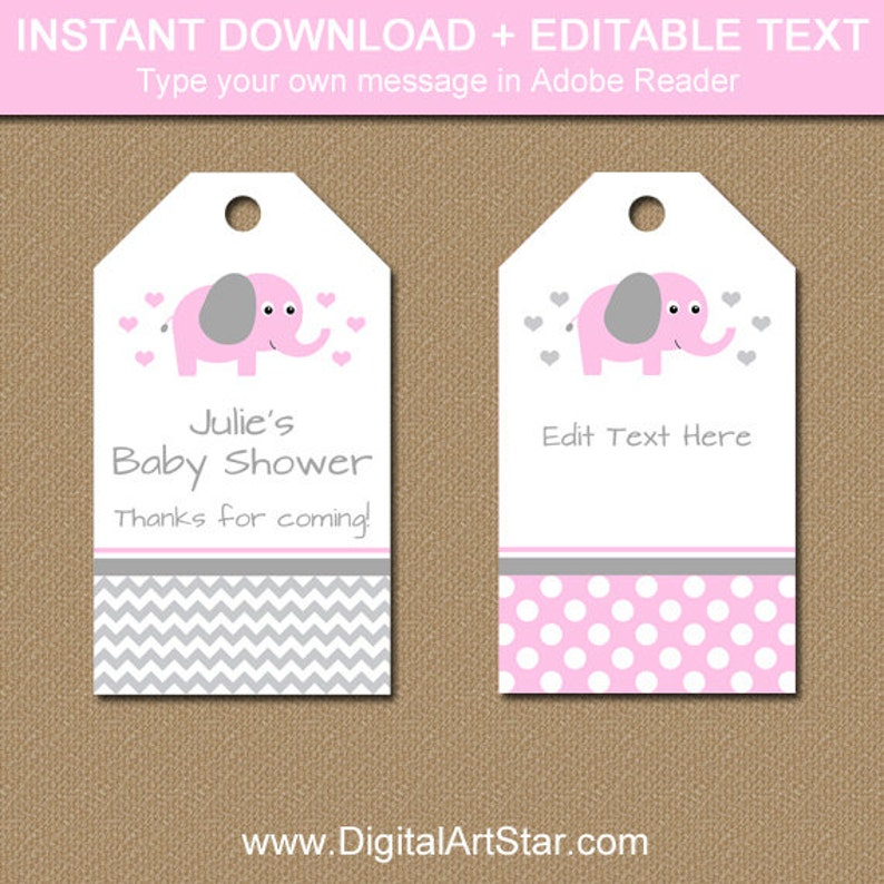 photograph about Baby Shower Tags Printable named Red Elephant Kid Shower Tags - Editable Kid Shower Hold Tags - Polka Dot Youngster Shower Thank Your self Tags - Printable Lady Child Shower Tags