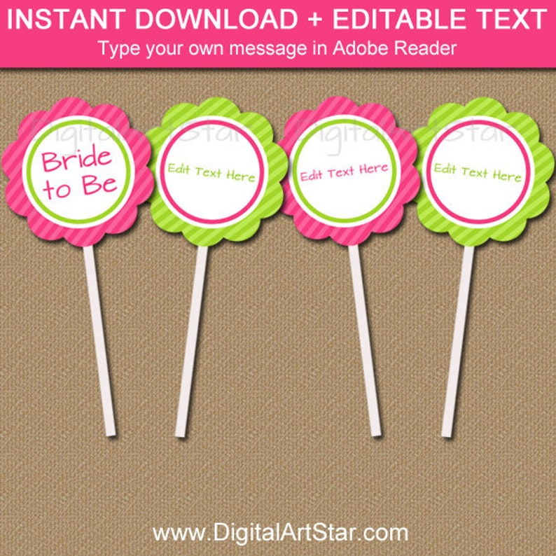 Bridal Shower Cupcake Toppers, PRINTABLE Bridal Shower Party Decorations,  EDITABLE Baby Shower Cupcake Picks, Downloadable Pink Lime Decor