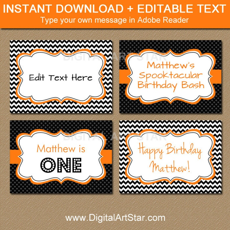 photograph about Printable Halloween Labels named Printable Halloween Labels, EDITABLE Halloween Buffet Playing cards, Printable Halloween Birthday Foods Labels, Halloween Sweet Buffet Label Template