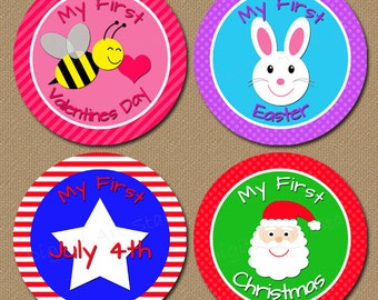 Baby's First Holiday Milestone Stickers Iron On Transfers GIRLS - Printable Bodysuit Stickers Valentine Christmas Halloween INSTANT DOWNLOAD