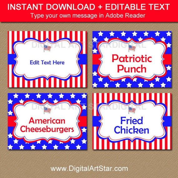Patriotic Food Labels 4th Of July Birthday Party Fourth Buffet Cards Stars And Stripes Printables P1