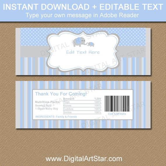 Boy Baby Shower Chocolate Bar Wrappers Elephant Candy Wrappers