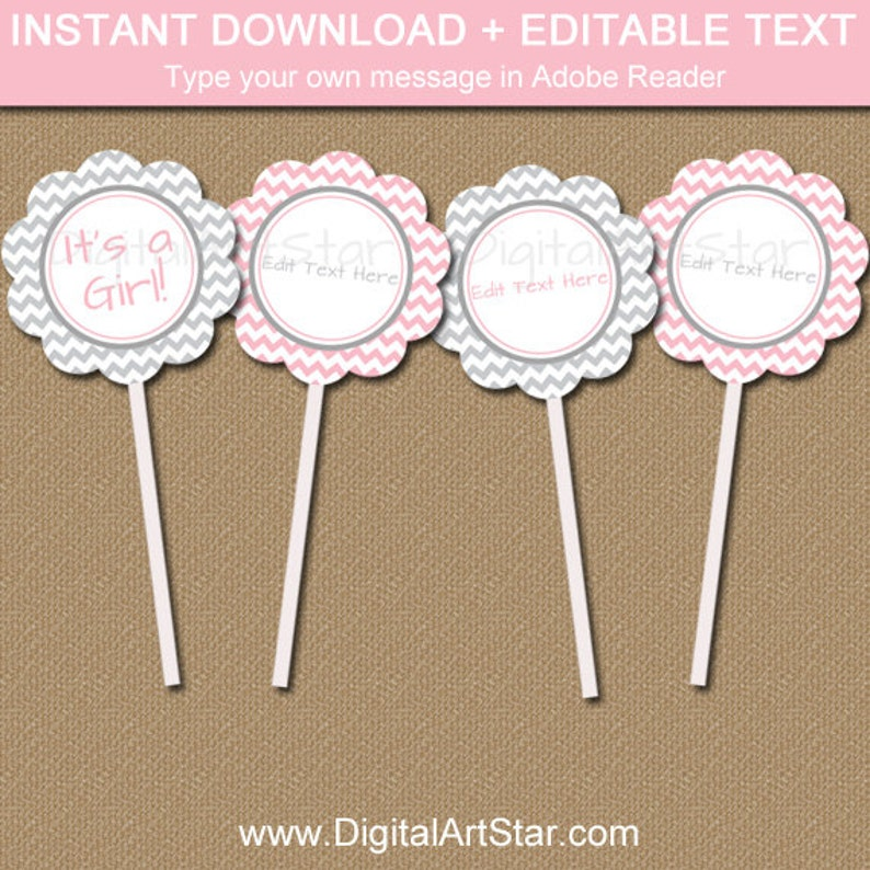 Cupcake Topper Template | Pink And Gray Baby Shower Cupcake Topper Template Pink Grey Etsy