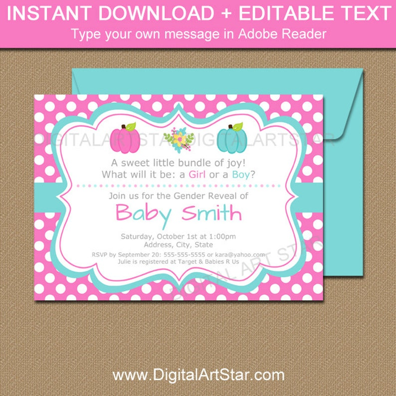 graphic about Printable Gender Reveal Invitations identified as Pumpkin Gender Demonstrate Invitation Template - Printable Gender Demonstrate Invite - Child Make clear Social gathering Invite - Pumpkin Kid Shower Invites