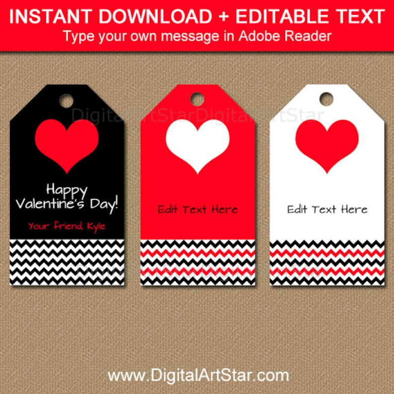 photograph relating to Valentine's Day Tags Printable referred to as Valentine Reward Tag Printable, Editable Valentines Working day Tags, Valentines Working day Get together Suggestions, Downloadable Clroom Valentine Tags Black Crimson V1