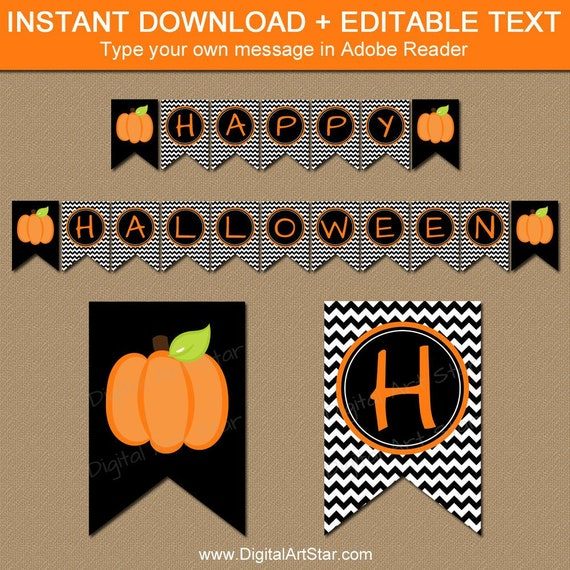 photograph regarding Happy Halloween Banner Printable named Halloween Banner Template, Pumpkin Banner Printable, Satisfied