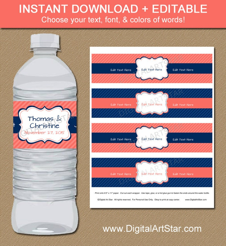 Coral and Navy Water Bottle Labels  Navy and Coral Drink image 0