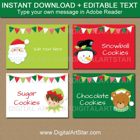kids christmas labels christmas place cards christmas party labels