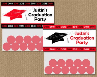 Personalized Graduation Bag Toppers, Personalized Graduation Party Favors, Graduation Goodie Bag Labels, Red Black Class of 2018 Bag Tags G1