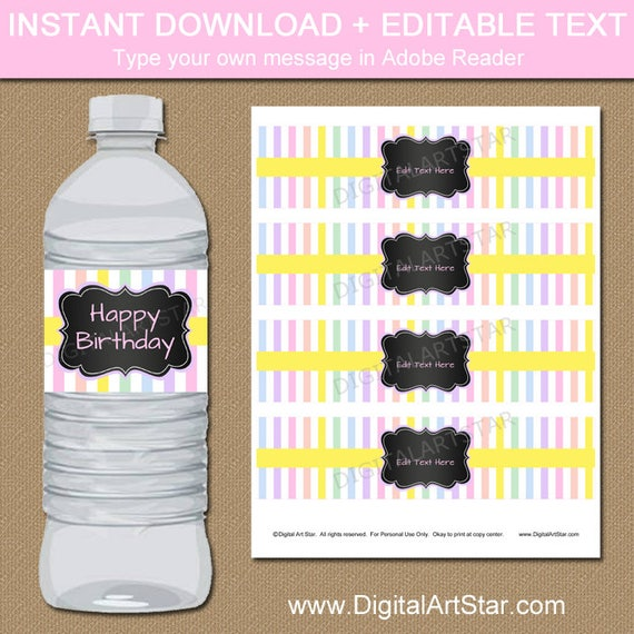 Rainbow Party Decorations Rainbow Birthday Water Bottle Labels