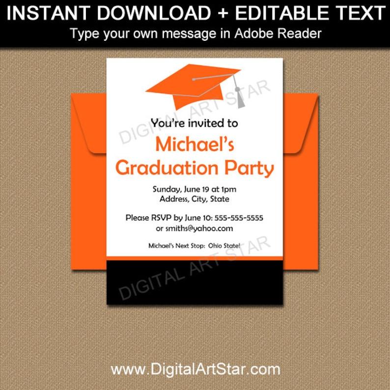 Graduation Party Invitation Template High School 2019 EDITABLE PDF Grad Invite Download G1