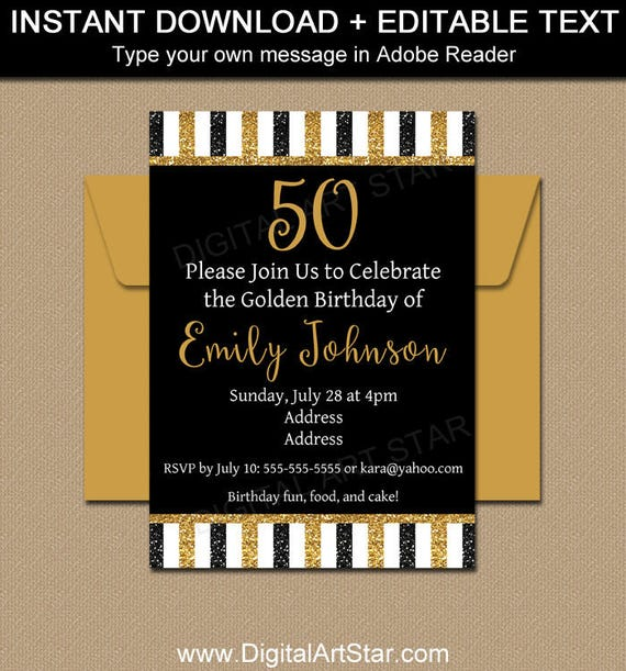 Printable 50th Birthday Invitation Template Glitter Editable Invite Milestone Anniversary B4
