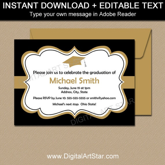 image regarding Printable Graduation Announcements identify Black Gold Printable Commencement Invitation Template
