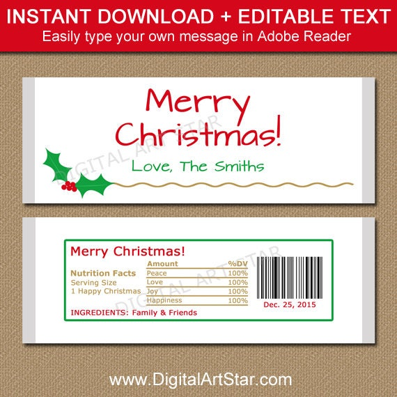Christmas Candy Bar Wrapper Template Printable Holiday Etsy