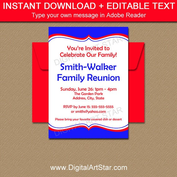 Printable Family Reunion Invitations Royal Blue And Red Invitation