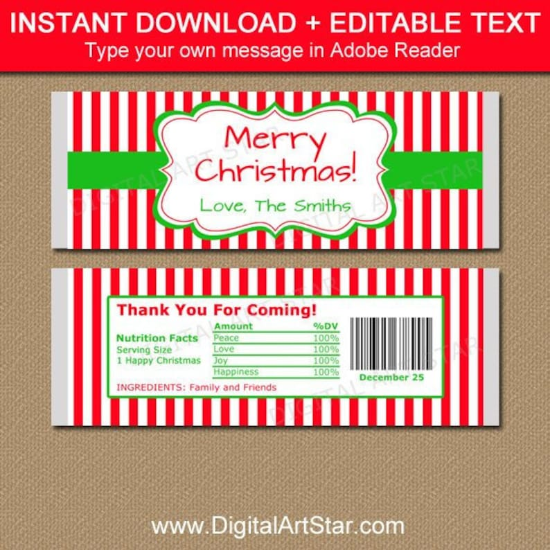 picture about Printable Hershey Bar Wrappers named Customized Sweet Bar Wrapper Xmas, Printable Chocolate Bar Wrappers, Trip Celebration Like Plans, Xmas Favors for Older people CSV