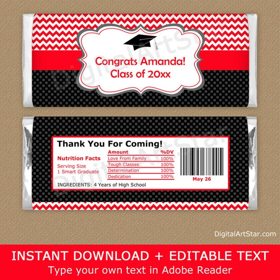 RED AND GOLD GRADUATION FAVORS CANDY BAR WRAPPERS HERSHEY BAR WRAPPERS 2021