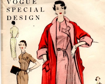 """1950's Vogue Special Design One Piece Dress with Concealed Breast Pocket and Reversible Coat Pattern - Bust 30"""" - No. 4585"""