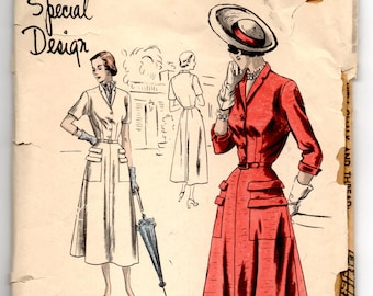 """1950's Vogue Special Design Day Dress with Double Pockets and Button Up Top Pattern - Bust 34"""" - No. 4865"""