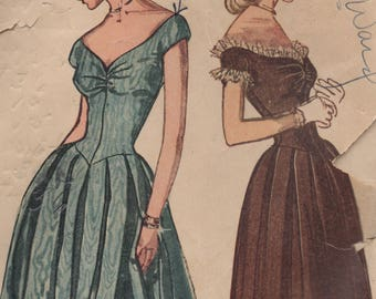"""1940's Simplicity Evening Gown with Sweetheart Neckline and V Drop Waist Pattern - Bust 32"""" -  No. 2283"""
