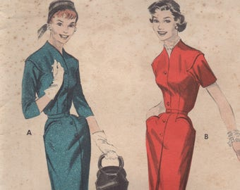 """1950's Butterick One Piece Wiggle Dress with Distinct Curved Pockets and Armseye- Bust 34"""" - No. 7425"""
