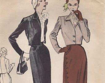"1950's Butterick Bolero Suit Pattern with Asymmetrical closure Skirt - Bust 32"" - No. 5202"