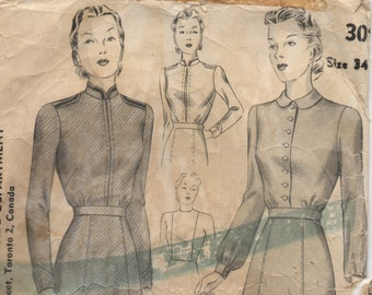 RARE - 1940's Salvation Army Winter & Spring Uniform Pattern by Simplicity - Bust 34""