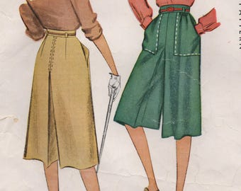 "1947 McCall Culotte Pattern with Large Pockets - Waist 34"" - No. 6768"
