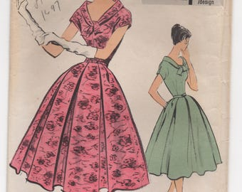 """1950's Vogue Special Design One Piece Dress with Wide Neck and Collar with Wrap and Full Pleated Skirt Pattern - Bust 32"""" - No. s4857"""