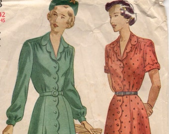 """1940's Simplicity One-Piece Dress with Scallop detail Pattern - Bust 42"""" - No. 2668"""