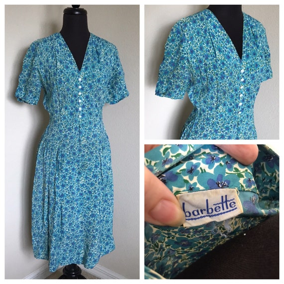 1940/50's Barbette Blue Floral Dress - Flat Rayon