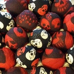 The Lich's Laugh: Black, Red, and White Skull Patterned Spell Packets