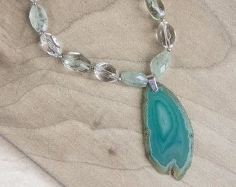 Green Agate Slice Necklace, Green Amethyst, Gemstone Necklace