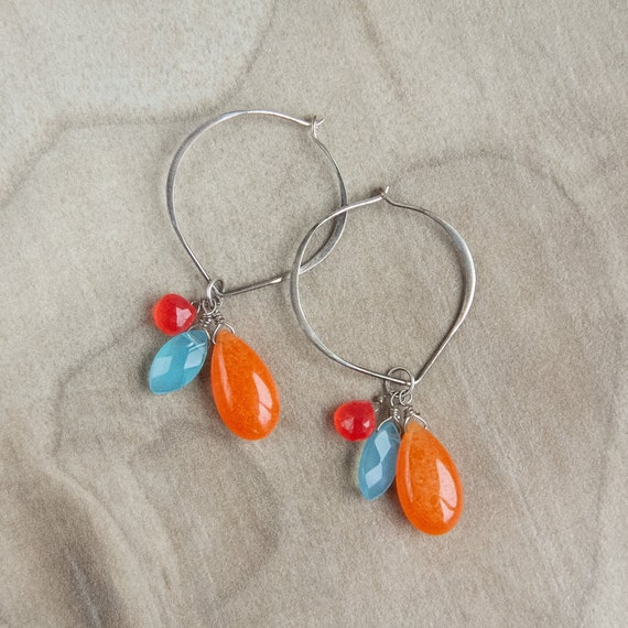 Quartz Hoop Earrings bridal spike earrings Blue Chalcedony shoulder duster valentines gift boho long earrings bohemian