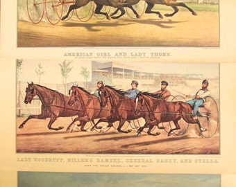 Vintage (3) Currier and Ives Horse Race Prints, Equestrian Prints, Vintage Currier and Ives 1960s and 1970s Horse Equestrian Calendar Prints