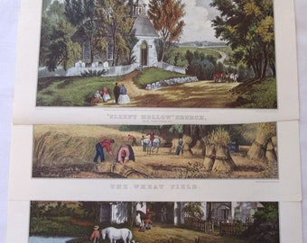 3 Currier and Ives Country Autumn  Prints, Currier and Ives Sleepy Hollow, Harvest Country, Affordable Art, Cottage Chic Decor, Currier Ives