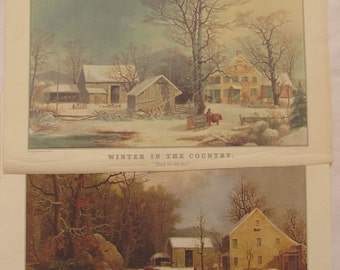 Currier and Ives Winter in the Country Calendar Print, Vintage 1960s Currier and Ives Winter Farm Prints, Vintage Currier and Ives Winter