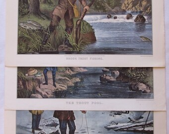 Vintage Currier and Ives Fishing Prints, Vintage Ice Fishing Fishing, Trout Fishing Print, Vintage Fisherman, Currier Ives