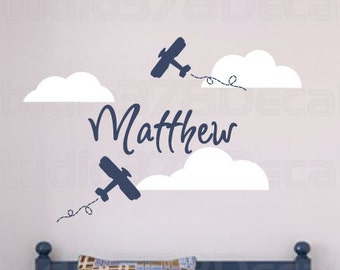 Airplane Wall Decals - Personalized Name - Boy Nursery Decal - Aviation Room Decor - Childrens Decor - Nursery Clouds - Vinyl Wall Decal