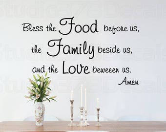 Bless The Food Before Us The Family Beside Us   Prayer Wall Decal   Dining Room Wall Words   Christian Prayer Bible Verse   Vinyl Wall Decal