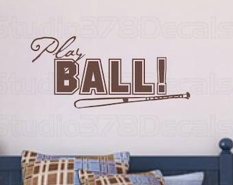 Play Ball Baseball Vinyl Wall Decal | Sports Boys Room Decor | Boys Room Wall Decal | Wall Art Quote | Man Cave Decor | Nursery Boys Teens