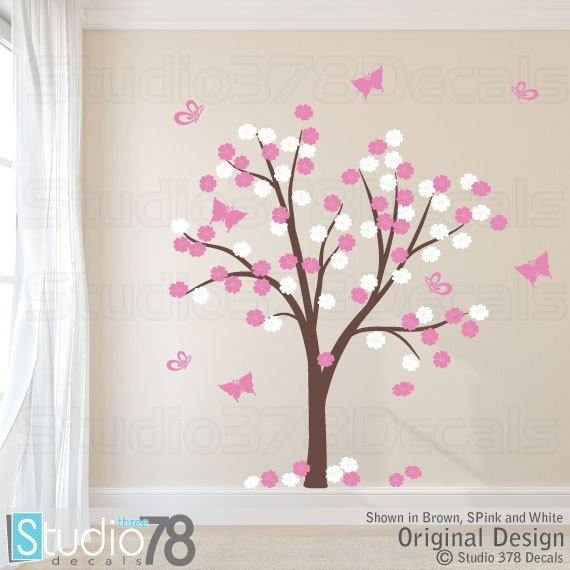 Cherry Blossom Tree Vinyl Wall Decal Flower and Butterfly | Etsy