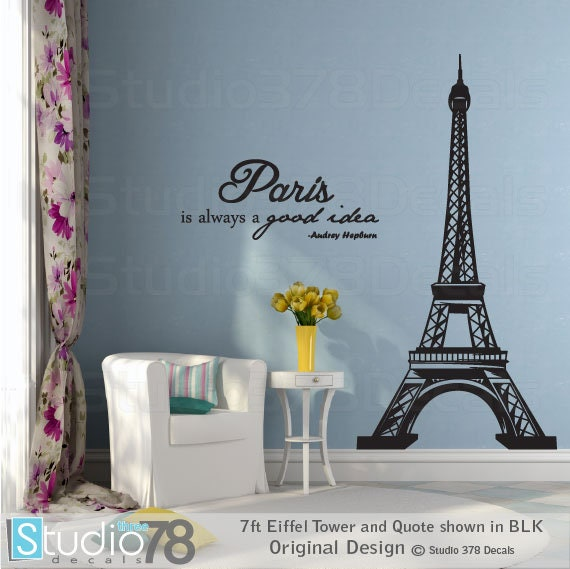 Eiffel Tower Wall Decal With Audrey Hepburn Quote Paris Is Etsy