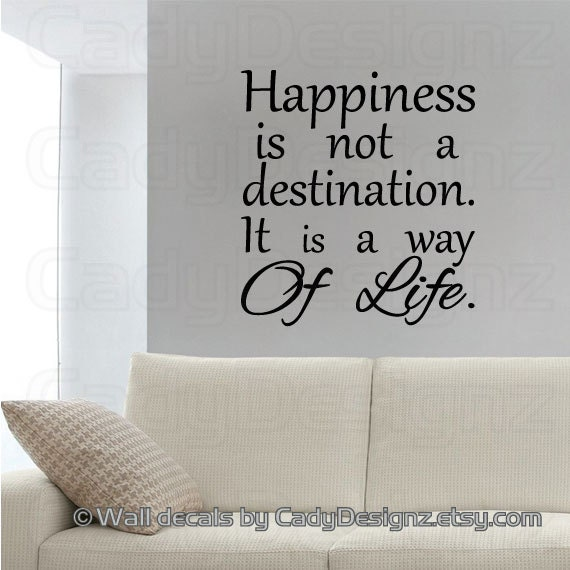 Vinyl Wall Decal Subway Art Happiness is not a destination | Etsy