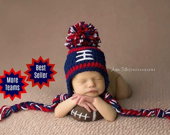 2b905770725 NEW ENGLAND Patriots BABY Boy Hat Newborn Baby Crochet Football Hat With  Ear Flaps 0 3 6 12 months Steelers Hospital outfit Kansas city