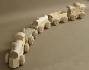 """Wooden Toy Train.  The """"No Paint"""" Special. A handmade toy.  A natural wood toy."""