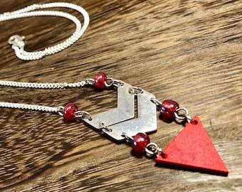 Red & Silver Chevron Chain Necklace