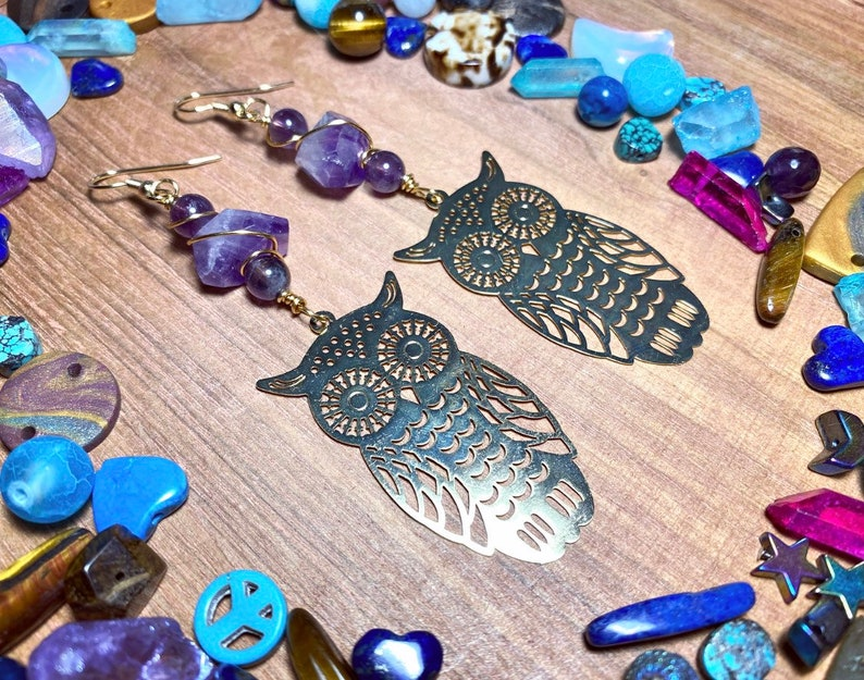 Large Brass Owl /& Faceted Amethyst Earrings \u2022 Wire-Wrapped