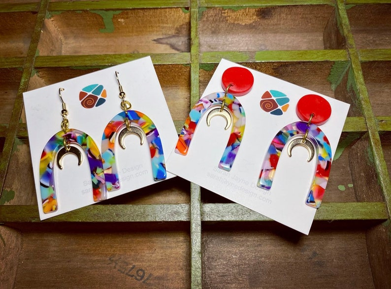 Rainbow Arch Earrings with Gold Moons \u2022 Studs or Dangly