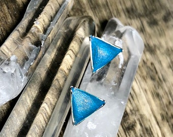 Teal Triangle Studs